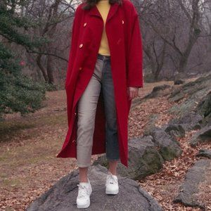 Vintage Genny Red Collared Long Breasted Pea Coat